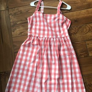 Pink gingham apron dress j.crew